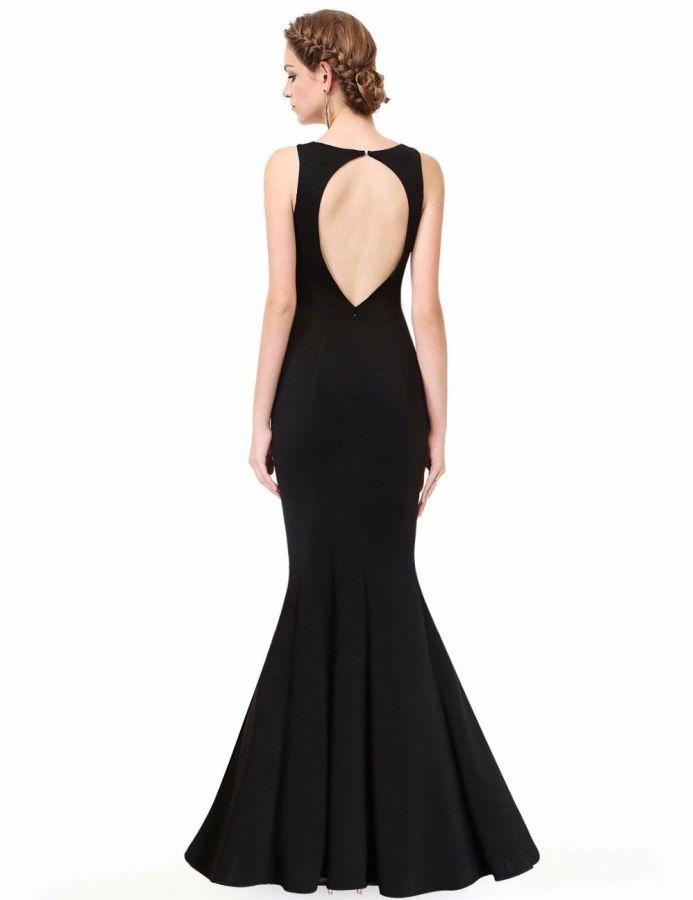 f7bfc7e8213a černé dlouhé hladké společenské šaty holá záda - plesové šaty ...